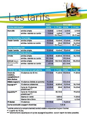 Tarif piscine automne2015 nautilis centre aquatique et for Tarif piscine waterair
